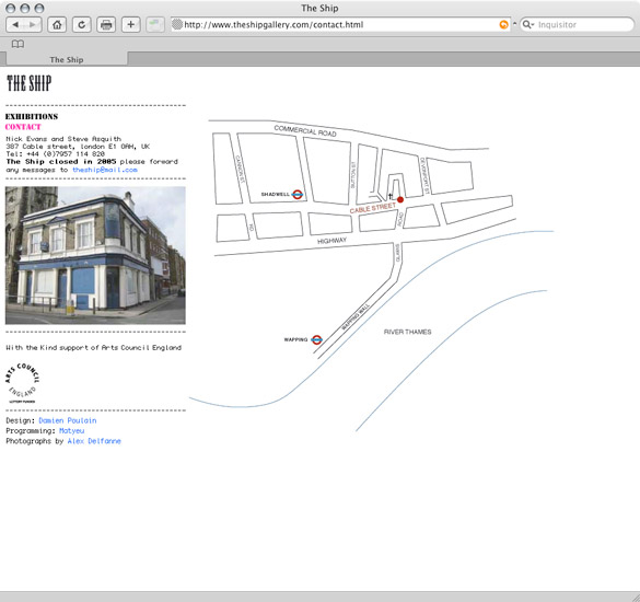 The Ship Gallery, contact page - preview
