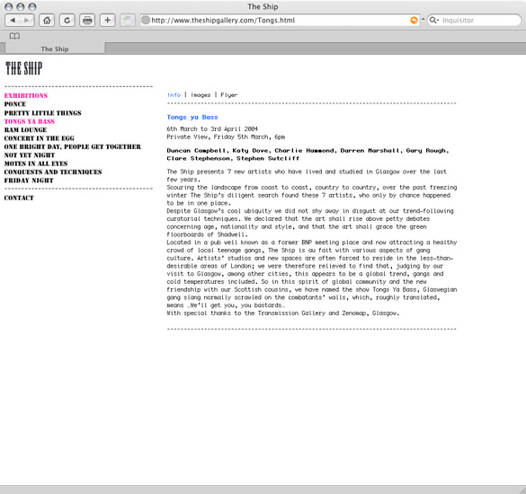 The Ship Gallery, exhibition page - preview