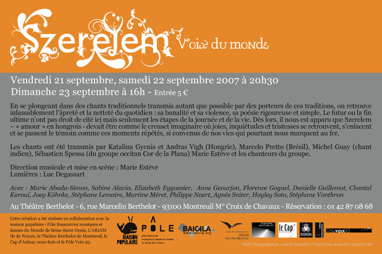 Flyer pour le spectacle Szerelem
